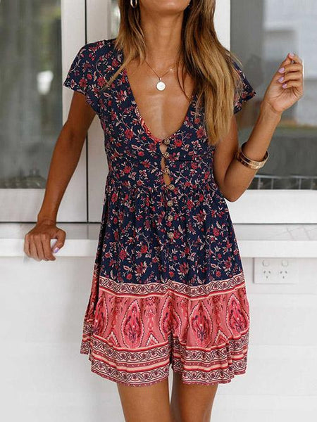 V-neck Bohemia Printed Button-with Mini Dresses