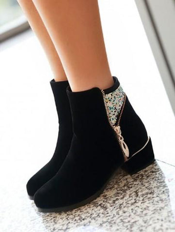 Black Round Toe Zipper Sequin Fashion Ankle Boots