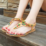 Bohemian Beadings Thong Toe Flat Sandals