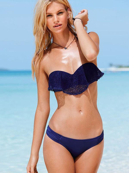 Lace Solid Color Two-pieces Bikini Swimwear