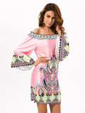 Pretty Floral Bohemia Off Shoulder Long Trumpet Sleeve Bodycon Mini Dress