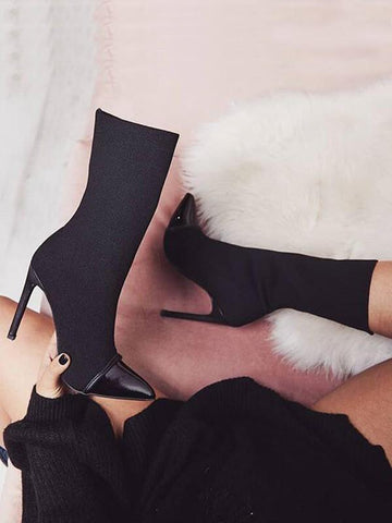 Black Point Toe Stiletto Patchwork Fashion Ankle Boots