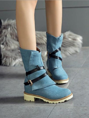 Blue Round Toe Belt Buckle Zipper Fashion Boots