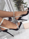 Black Round Toe Sequin Fashion Ankle Sandals