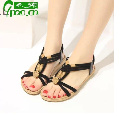 Bohemian Open Toe Straps Beadings Flat Sandals