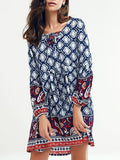 Beautiful Blue Bohemia Long Sleeve Round Neck Beach Mini Dress