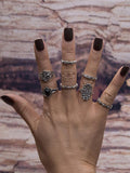 7PCS Vintage Silver Crystal Rings Accessories