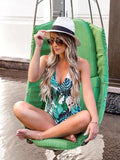 Leaves Printed One-piece Swimwear