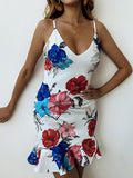 Floral Spaghetti-neck V-neck Mini Dress