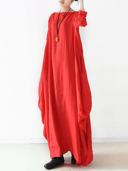 Loose Red Asymmetric Linen Long Dress