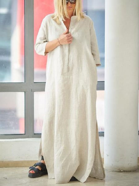 Beige 3\/4 Sleeves Split-side With-pockets Linen Dress