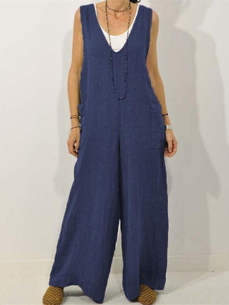 Casual Solid Round-neck Jumpsuits