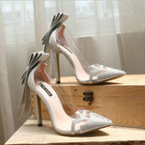 Bowknot Crystal Transparent Low Cut Stiletto High Heels Bridal Shoes