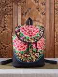 Flower Embroidered Backpack&Single-shoulder Bag