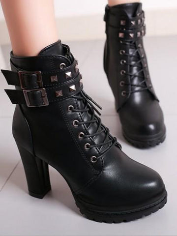 Black Round Toe Rivet Belt Buckle Lace-up Chunky Fashion Boots