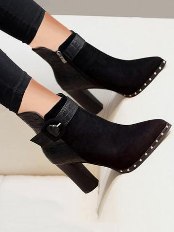 Black Point Toe Chunky Rivet Buckle Fashion Ankle Boots