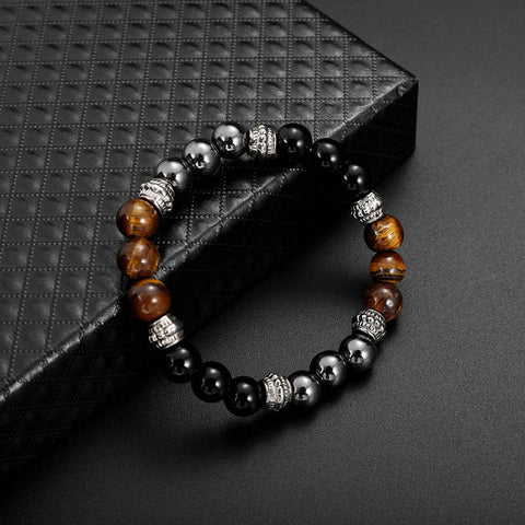 Vintage Tiger-eye Mens Womens Beaded Bracelet Natural Stone Beads Buddha Bracelet for Women Men