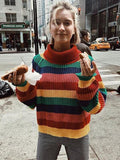Multicolor Striped Knitting Sweater Tops