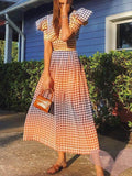 Fashion V-neck High Waist Puff Sleeve Maxi Dresses