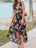 Black Floral Print Patchwork Lace High-Low Swallowtail V-neck Sleeveless Bohemian Maxi Dress