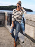 Fashion Stripes Loose Sweater Tops