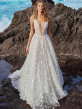 Deep V-neck Sleeveless V-back Bohemia Wedding Dress