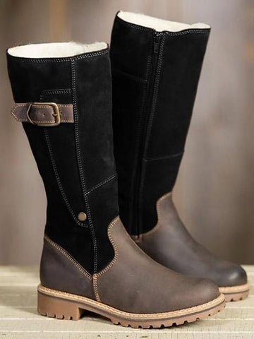 Black Round Toe Chunky Patchwork Buckle Fashion Mid-Calf Boots