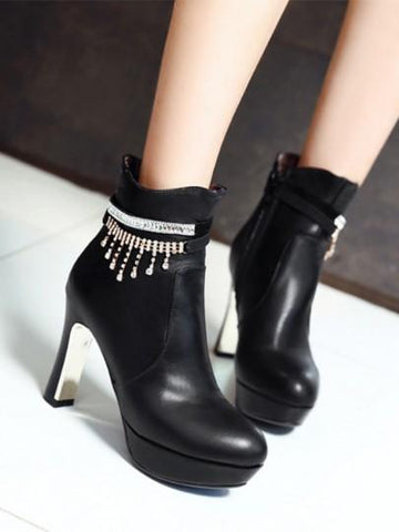 Black Round Toe Rhinestone Chunky Fashion Ankle Boots