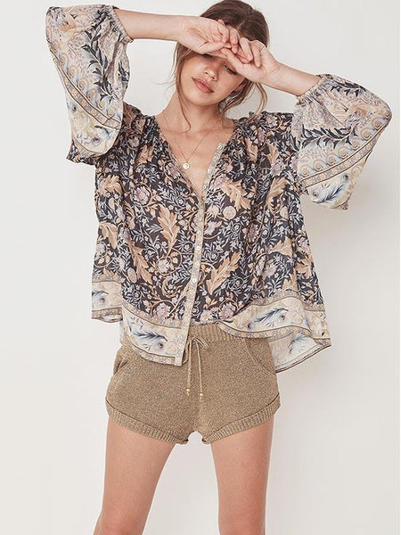 Loose Printed Bohemia Blouse Top