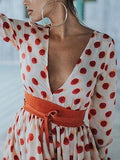 Fashion Polka-dot V-Neck Long Sleeves Maxi Dress