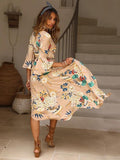 Flared Sleeves Printed Wrap Bohemia Dress