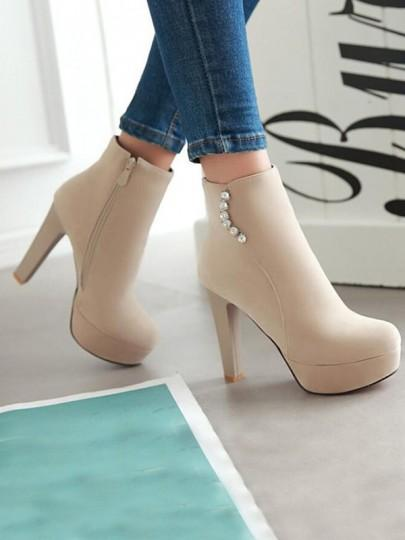 Beige Round Toe Chunky Rhinestone Fashion Ankle Boots
