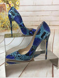 Blue Point Toe Stiletto Color Block Print Fashion High-Heeled Shoes