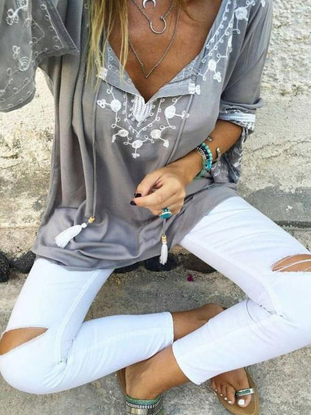 Long Sleeves V-neck Floral Blouses&shirts Tops