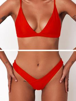 7 Colors Triangle Plain Bikinis Swimwear