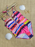 Colorful Bandage One-Piece Swimwear