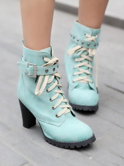 Blue Round Toe Rivet Lace-up Chunky Fashion Boots