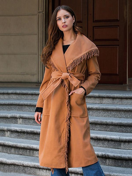 Camel Bandage Tasseled Urban Split-joint Overcoat