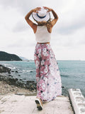 Floral Wide Leg Split-side Bottom Casual Pants