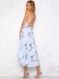 Pretty Asymmetry Floral Backless Midi Dresses