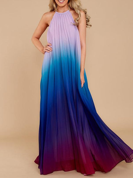 Gardient Backless Ruffled Maxi Dress