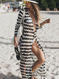 Stripes Long Sleeves Cover-up Dress