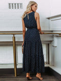 Round-neck Dot Bohemia Maxi Dress