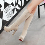 Beige Round Toe Chunky Pearl Mid-Calf Fashion Boots