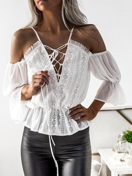 Long-sleeved Chiffon V-neck Top