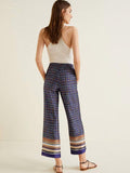 Navy Blue Floral Wide Leg Casual Pants