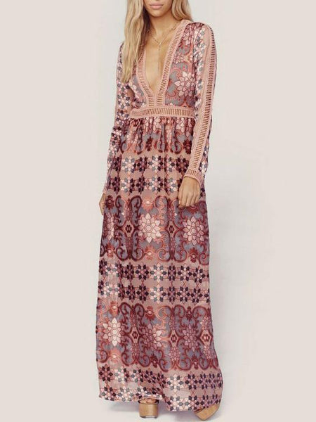 Bohemia Chiffon Lace Deep V-Neck Long Sleeves Floral Print Maxi Dress
