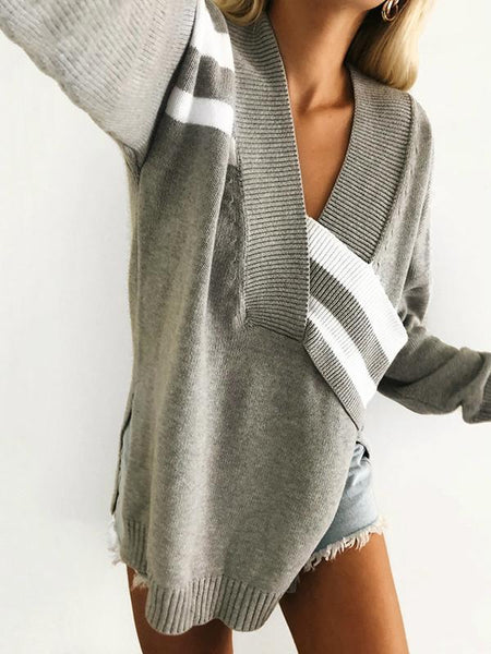 Fashion Knitting V-neck Irregular Long Sleeves Sweater Tops