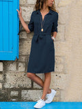 Lapel V-neck 3\/4 Sleeves Midi Dress