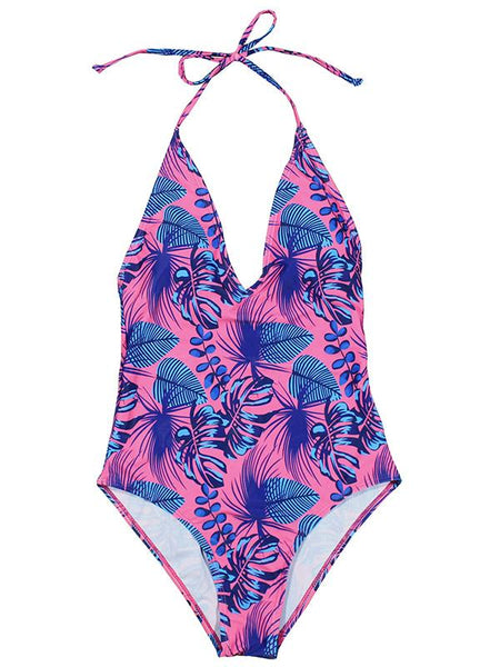 Halter Printed One-piece Swimsuit